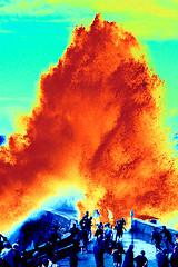 eruption II (Dieter Drescher) Tags: water photoshop fire wasser distorted apocalypse experiment manipulation feuer breaker outbreak naturgewalt forceofnature falsecolours verfremdet weltuntergang ausbruch falschfarben brecher dieterdrescher