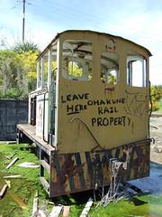 ex NZ Army shunting loco at Ohakune Nov 2009 (AA654) Tags: railroad newzealand tractor green army graffiti pond critter rail railway scum nz algae slime ohakune shunter shunting