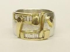 Diamond set wide band ring