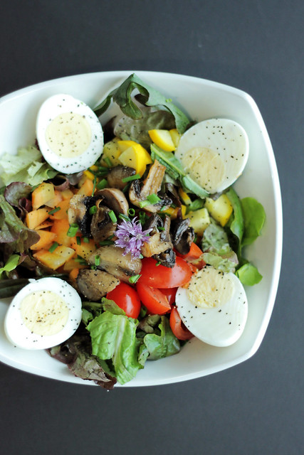 Eggs, Mushrooms and mixed Leaves
