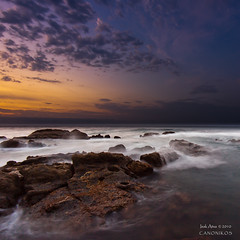 Low Tide Sunset II `[Explore] (saki_axat) Tags: longexposure sunset sea sky seascape nature clouds canon landscape explore bakio 50d mygearandmebronze