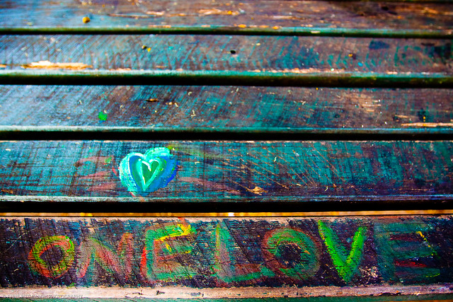 One Love Grafitti Park Bench