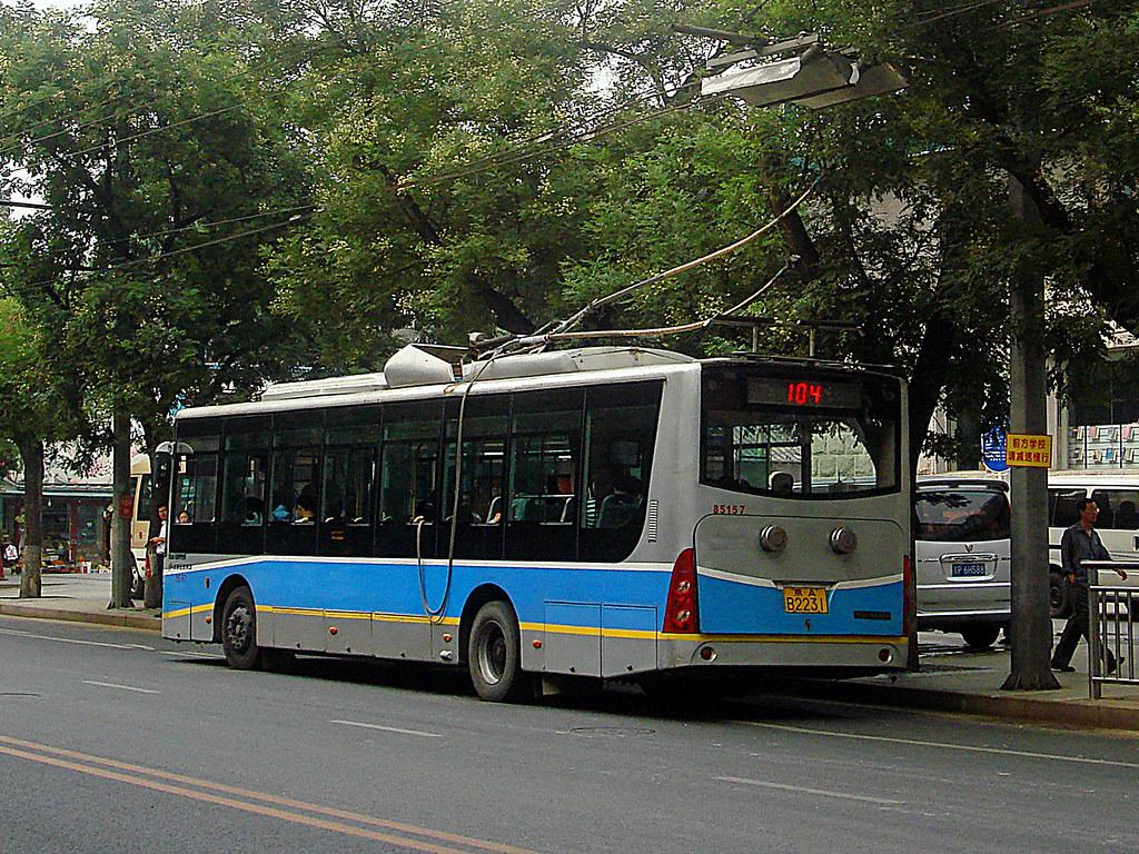 [Buses in Beijing]???? Beijing Huayu BJD-WG120DK <Trolley-bus> ?????? BPT #85157 Rear-left at Dengshi West Crossing