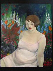 Dreaming of a Wild Life (the brilliant magpie) Tags: pink flowers portrait woman art overgrown girl garden painting hair colorful pretty clematis bob digitalis begonia oil foxglove brunette canna voluptuous zaftig rubenesque huechera amyabshierreyes junoesque dreamingofawildlife