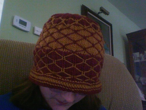 Burgundy and Gold Hat
