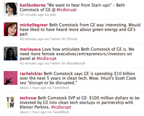 Twitter discussion of Beth Comstock