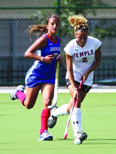 Temple's #2 Junior Midfielder Kaylee Keener and American's #7 Freshman Midfielder Costanza Palmer