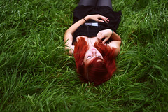 (Noukka Signe) Tags: red music cold color green nature wet girl grass hair alone peace ipod redhead explore listening moment signe explored noukka