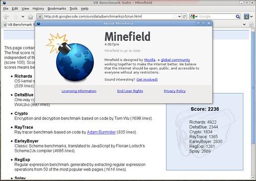 2236 points au benchmark v9  avec Minefield 4.0b7pre