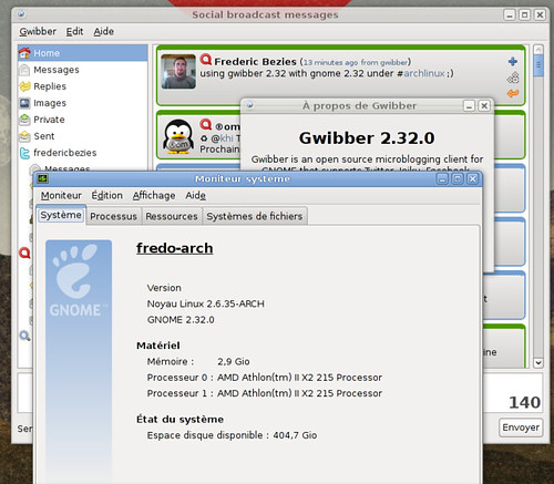 Gnome 2.32 et Gwibber 2.32...
