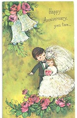1st Wedding Anniversary Card, 1970. (cheryldecarteret) Tags: wedding roses bells groom bride 1970s anniversarycard