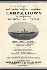 Clyde & Campbeltown Shipping Co. Ltd (Neil F King) Tags: scotland ship mail royalmail steamer arran timetable kintyre lochranza davaar carradale dalriada pirnmill clydecampbeltownshippingcoltd