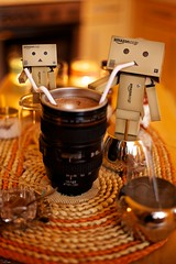 The Danbos drinking a hot chocolate.. out of my lens?! (generalstussner) Tags: orange canon candles 5d f22 adventures ef50mmf18ii 50mm18 danbo revoltech danboard 5dmarkii lensmug