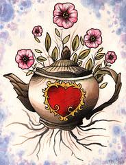 Teapot (Matt Heft - Custom Tattoos & Fine Art) Tags: flower color art feet water tattoo matt painting pig heart teapot heft