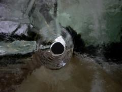Ice night capture (Lucie Maru) Tags: cold reflection ice water frozen melting pattern hole freeze round melt blockofice