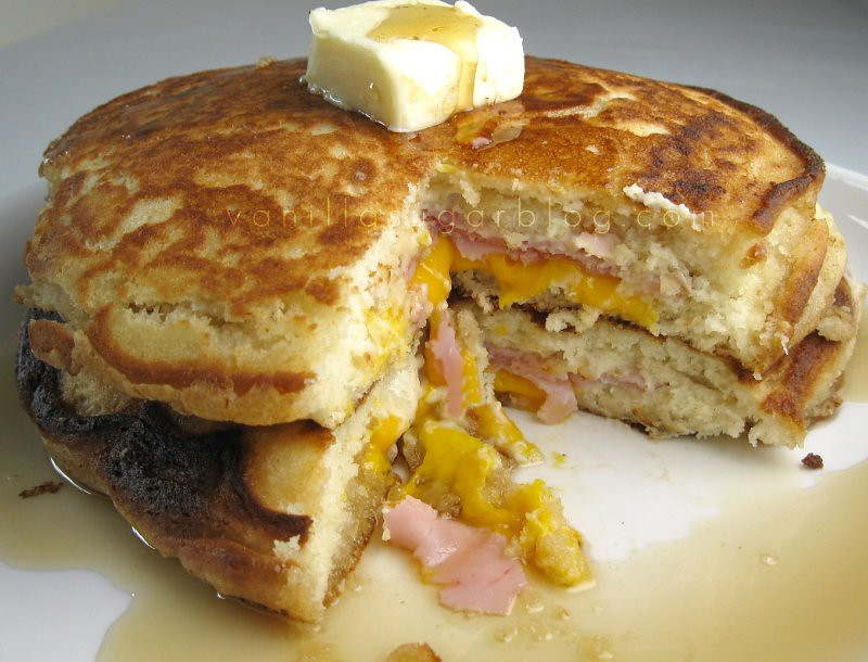 ham & cheese stuffed buttermilk pancakes