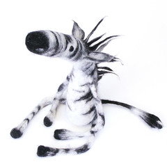 Zebra (fingtoys) Tags: white black wool felted toy cool stripes waldorf felt plush zebra arttoy fing animalprints fingtoys