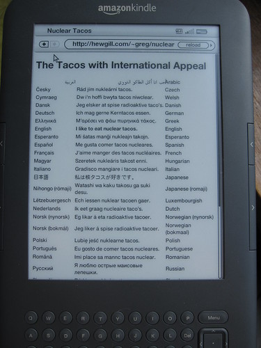 Kindle 3 showing international text