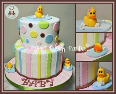 Ducky Cake Collage (Sweet Pudgy Panda) Tags: pink blue baby brown white green water girl yellow cake shower stripes bubbles ducky picnik polkadot fondant gumpaste