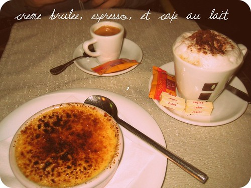 creme brulee et cafe au lait