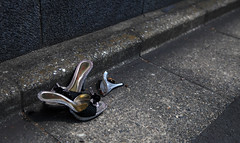 A small part of the story (Aaron Webb) Tags: street broken japan tokyo shoes highheel calendar 日本 東京 gutter tokyojapan 谷中 東京都 japanday4 くつ brokenheels とうり
