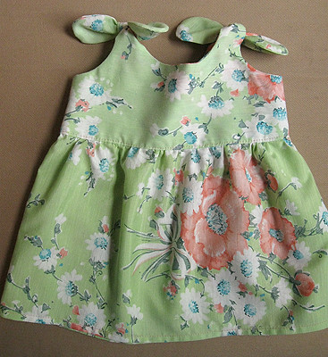 baby tie top dress vintage sheet FO