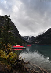 Lake Louise (Photography Through Tania's Eyes) Tags: autumn red canada mountains reflection nature water landscape boats hotel photo flora nikon rocks photographer picture canoe snowcapped photograph alberta vegetation lakelouise banffnationalpark chateaulakelouise copyrightimages taniasimpson