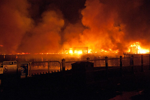 Hastings Pier fire burns