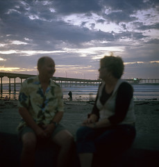 (Alex Andrine) Tags: ocean california sunset portrait 120 film beach rolleiflex pier model san couple kodak diego ob 100 rf automat 1937 ektar 111a