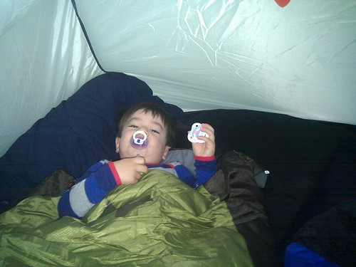 Scott waking up in the tent. We slept in the tent in our garden last night, he loved it!
