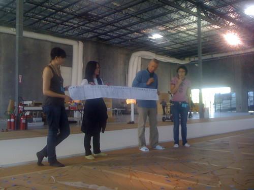 Cai Guo-Qiang explaining his Odyssey sketch
