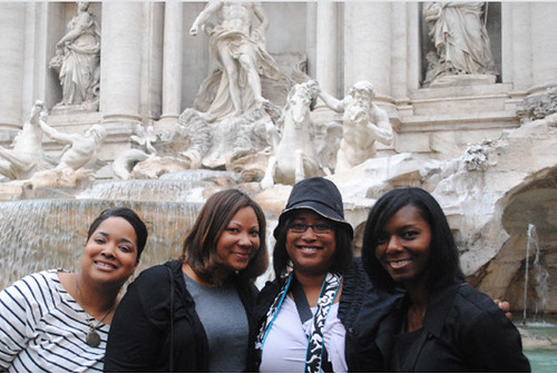 trevi fountain with the girls