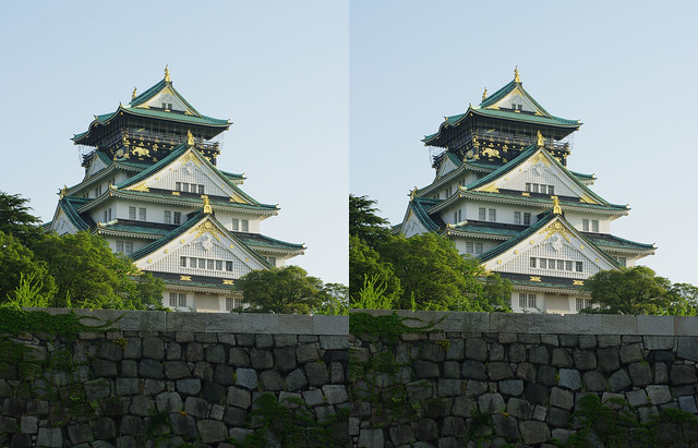 Oskaka castle, stereo parallel view