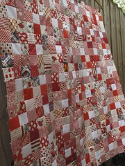 Busy Bees.. (One Flew Over...) Tags: red white quilt patchwork ninepatch quiltingbee