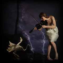 Electric Melody (lunamom58) Tags: woman photoshop digitalart violin papercrane creativecommons lightning ourtime innamoramento infinestyle