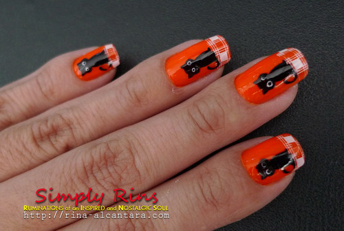 Nail Art Halloween Black Cats 04