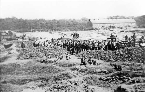 6332 Striking miners at Bug Row, Coppice Common, Brownhills, early 1900s