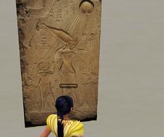 Meritaten examines ar elief of Pharaoh Akhenaten and the Aten in virtual Amarna (Akhetaten) (mharrsch) Tags: ancient egypt aten 18thdynasty nefertiti akhenaten basrelief virtualworld meritaten amarna virtualenvironment mharrsch akhetaten heritagekey