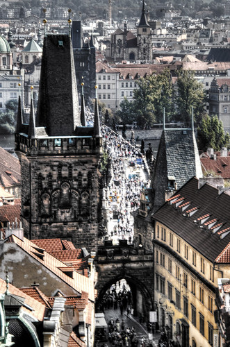 View of Charlse bridge. Prague. Vista del puente de Carlos. Praga