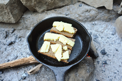 Grilled sourdough toasts with cheddar