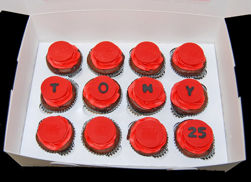 red and black cupcakes surprise delivery for a 25th birthday