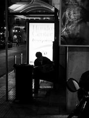 Bus station (Eleanna Kounoupa) Tags: street blackandwhite night athens greece busstation ελλάδα blackwhitephotos αθήνα στάση δρόμου stphotographia νυχτερινέσ μαυρόασπρεσ
