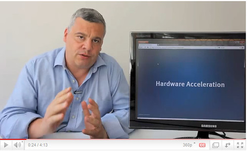 Screenshot of the video player featuring Tristan Nitot about Hardware acceleration in Firefox 4