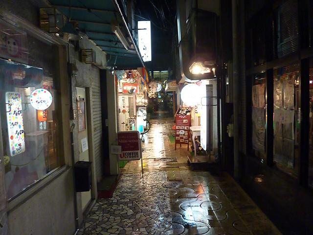 Shopping arcade in the rain