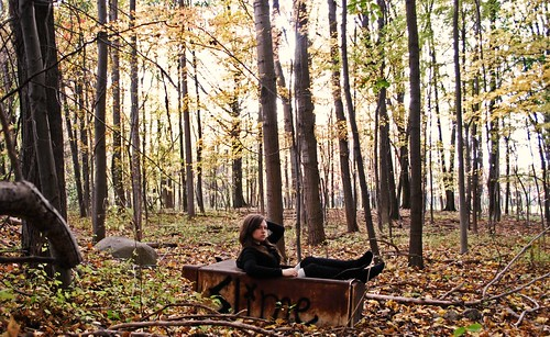 woman selfportrait fall girl forest graffiti fridge woods autum rusty rusted 365 slime refrigerator decomp storytimewithkaija spoileralertsquirrelbite thecolouroftheleavesisstartingtotripmeoutlatelyitsalotofyellowtohandleatonetime