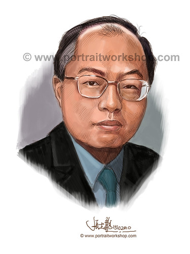 digital portrait illustration of Tan Ju Seng watermark