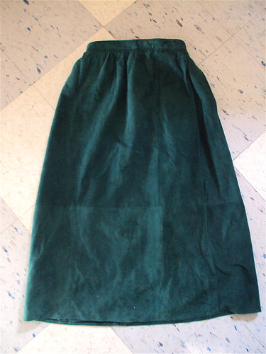 Ankle Length Forest Green Suede Skirt