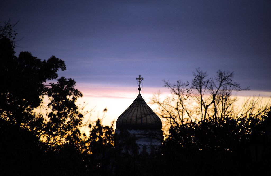 Cathedral of Christ the Saviour in sunset, Moscow