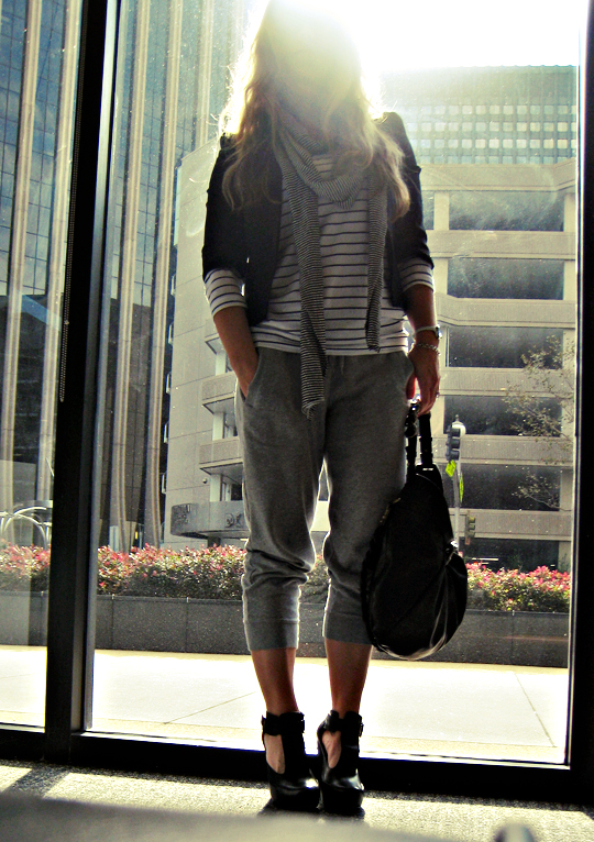 fashion sweats+striped shirt+black blazer+buildings+window+outfit+sun, sweat pants, fashion sweatpants