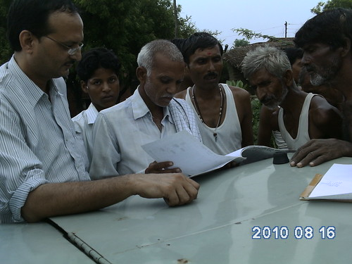 Prabhat with villagers in Etawah